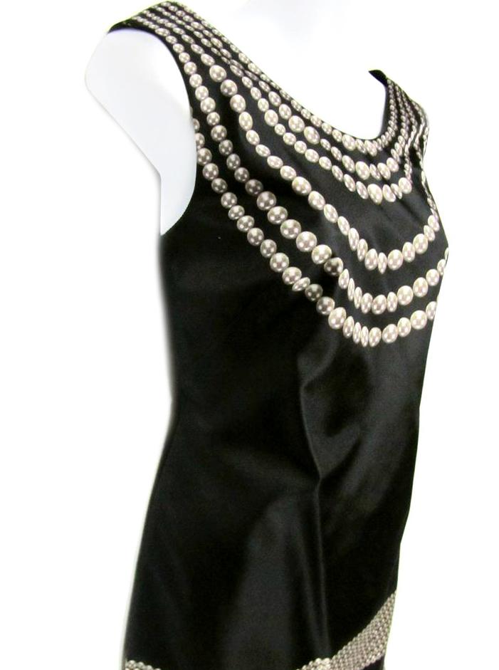 Marchesa Notte Black Pearl Necklace Print Sleeveless Silk